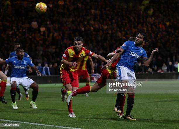 Carlos Alberto Pena of Rangers scores the opening goal of the game during the Betfred League Cup Quarter Final at Firhill Stadium on September 19...