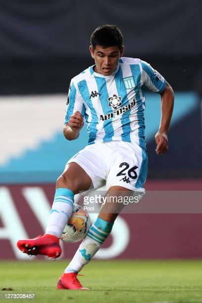 Carlos Alcaraz of Racing Club controls the ball during a group F match of Copa CONMEBOL Libertadores 2020 between Racing and Nacional at Juan Domingo...