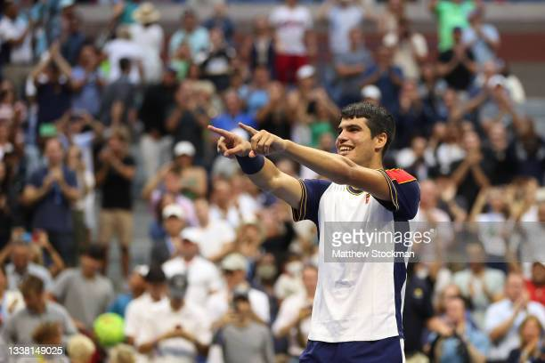Carlos Alcaraz of Spain celebrates after defeating Stefanos Tsitsipas of Greece during his Men's Singles third round match on Day Five of the US Open...