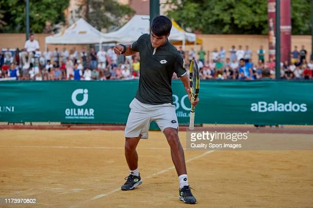 Carlos Alcaraz of Spain celebrates during his Mens round of 32 match against Yannick Hanfmann of Germany on day three of the ATP Sevilla Challenger...