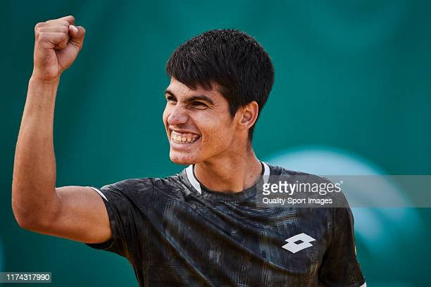 Carlos Alcaraz of Spain celebrates during his round of 16 match against Pedro Martinez Portero of Spain on day 3 of ATP Sevilla Challenger at Real...