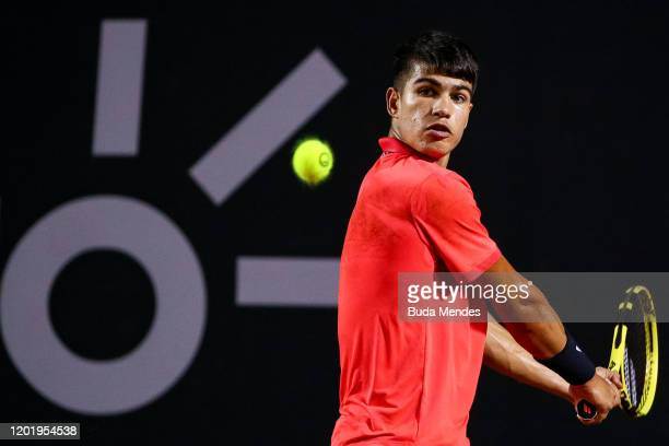 Carlos Alcaraz of Spain returns a shot to Federico Coria of Argentina during the ATP Rio Open 2020 at Jockey Club Brasileiro on February 19 2020 in...