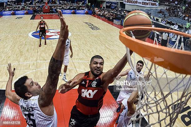 Carlos Alexandre Rodriguez of Flamengo drives against Gabriel Diego Fernandez of Penarol Mar del Plata during Final Four Liga de Las Americas FIBA...