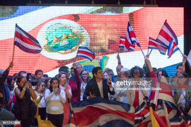 Carlos Alvarado candidate of PAC Party delivers a speach after winning the elections during the Second Round of the 2018 Presidential Elections in...