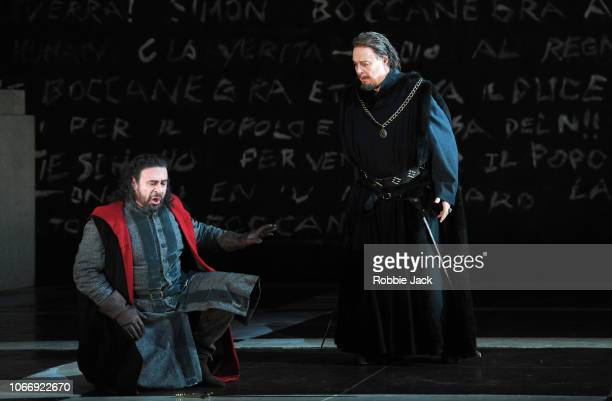 Carlos Alvarez as Simon Boccanegra and Ferruccio Ferlanetto as Jacopo Fiesco in Giuseppe Verdi's Simon Boccanegra directed by Elijah Moshinsky and...