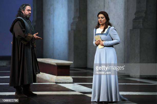 Carlos Alvarez as Simon Boccanegra and Hrachuhi Bassenz as Amelia Grimaldi in Giuseppe Verdi's Simon Boccanegra directed by Elijah Moshinsky and...