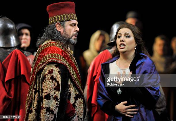 Carlos Alvarez as Simon Boccanegra and Hrachuhi Bassenz as Amelia Grimaldi with artists of the company in Giuseppe Verdi's Simon Boccanegra directed...