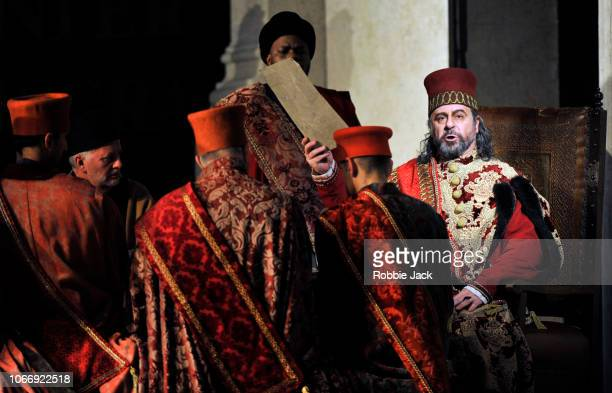 Carlos Alvarez as Simon Boccanegra with artists of the company in Giuseppe Verdi's Simon Boccanegra directed by Elijah Moshinsky and conducted by...