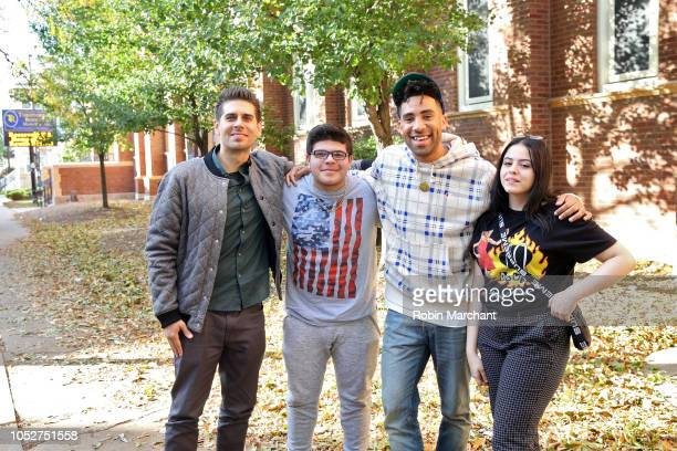Carlos Andrés Gómez Erik Arroyo KYLE and Mariana Alonso at AXE Senior Orientation at Roosevelt High School on October 22 2018 in Chicago Illinois