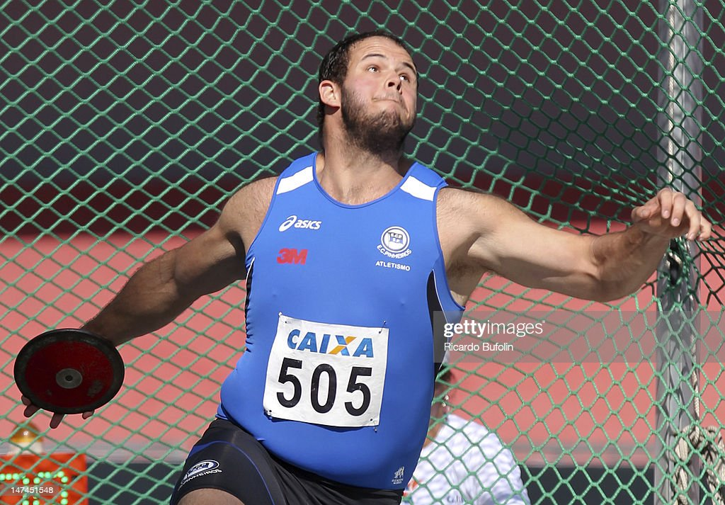 Carlos Antonino Barbosa da Silva, from Brazil, competes in the Discus throw Qualifying event during the third day of the Trofeu Brazil/Caixa 2012 Track and Field Championship at êcaro de Castro Mello Stadium on June 29, 2012 in Ibirapuera, Sao Paulo, Brazil.