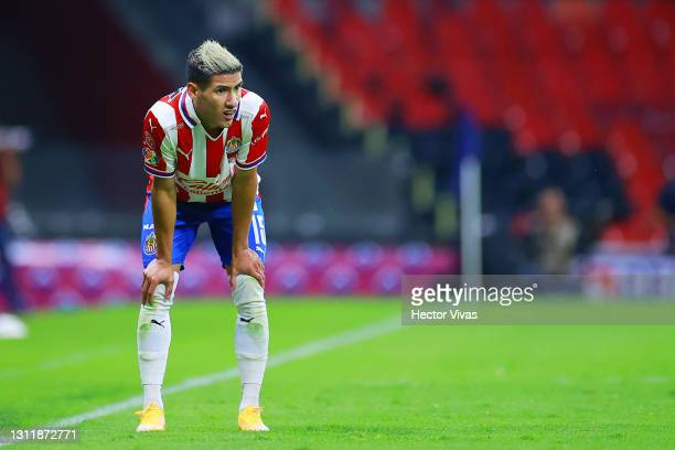 Carlos Antuna of Chivas gestures during the 14th round match between Cruz Azul and Chivas as part of the Torneo Guard1anes 2021 Liga MX at Azteca...