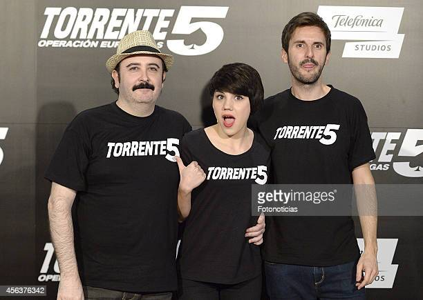Carlos Areces Angy Fernandez and Julian Lopez attend the 'Torrente 5 Operacion Eurovegas' photocall at Casino Colon on September 30 2014 in Madrid...