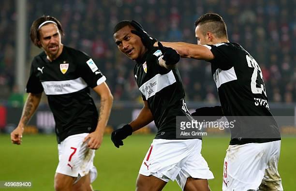 Carlos Armando Gruezo of SC Freiburg celebrates with team mates as he scores their second goal during the Bundesliga match between SportClub Freiburg...