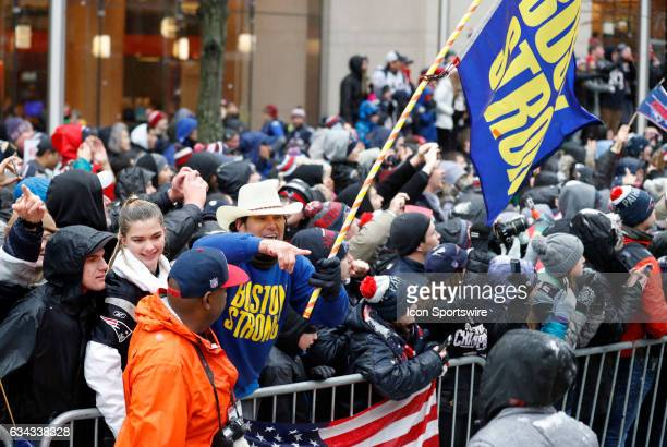Carlos Arredondo who helped save injured spectators during the Boston Marathon bombings at the finish line during the Patriots Victory Parade through...