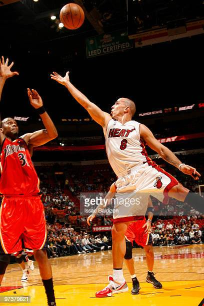 Carlos Arroyo of the Miami Heat shoots against the Golden State Warriors on March 2 2010 at American Airlines Arena in Miami Florida NOTE TO USER...