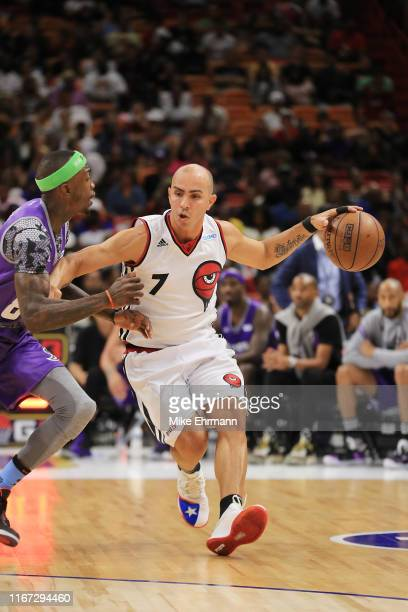 Carlos Arroyo of Trilogy drives to the basket during week eight of the BIG3 three on three basketball league at AmericanAirlines Arena on August 10,...