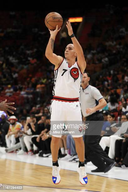 Carlos Arroyo of Trilogy shoots a three pointer during week eight of the BIG3 three on three basketball league at AmericanAirlines Arena on August...