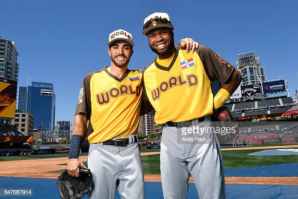 Carlos Asuage and Manuel Margot of the World Team pose for a photo before the SiriusXM AllStar Futures Game at PETCO Park on July 10 2016 in San...