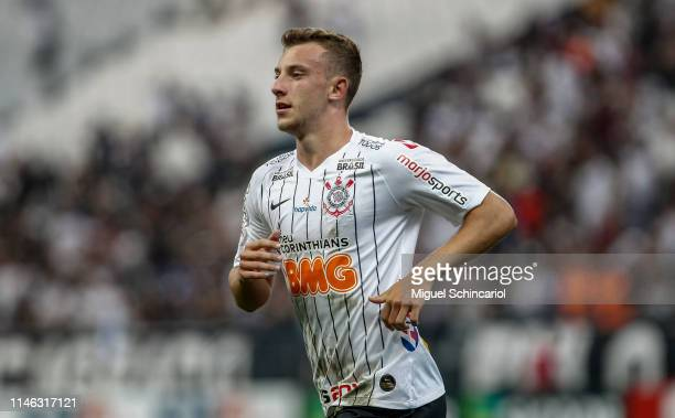 Carlos Augusto of Corinthians celebrates after scoring the opening goal during a match between Corinthians and Chapecoense for the Brasileirao Series...