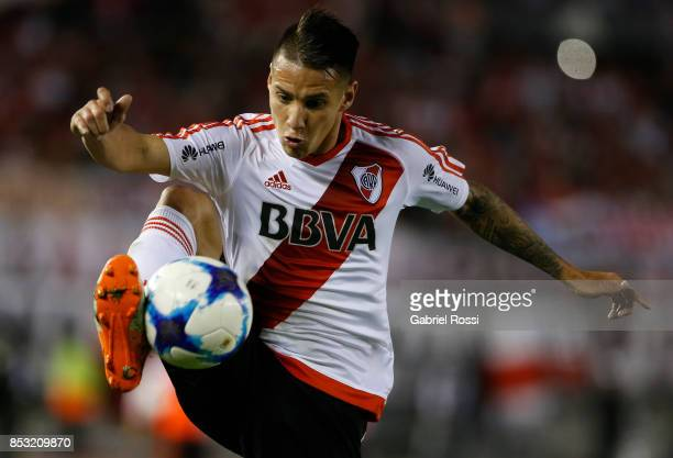 Carlos Auzqui of River Plate controls the ball during a match between River Plate and Argentinos Juniors as part of the Superliga 2017/18 at...