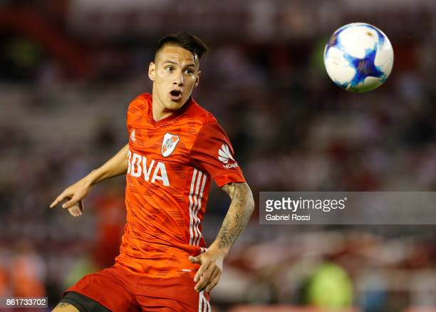 Carlos Auzqui of River Plate looks the ball during a match between River Plate and Atletico de Tucuman as part of Superliga 2017/18 at Monumental...