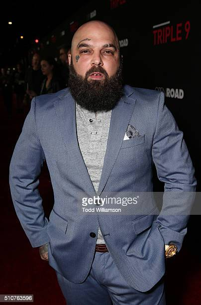 Carlos Aviles attends the premiere Of Open Road's Triple 9 at Regal Cinemas LA Live on February 16 2016 in Los Angeles California