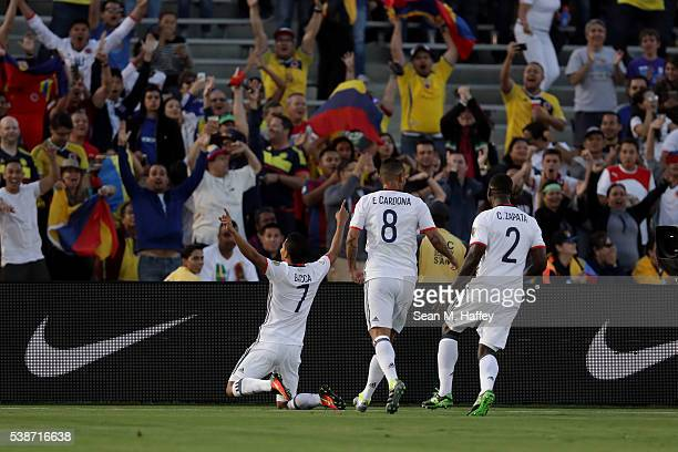 Carlos Bacca Edwin Cardona and Cristian Zapata of Colombia react to a goal during the first half of a 2016 Copa America Centenario Group A match...