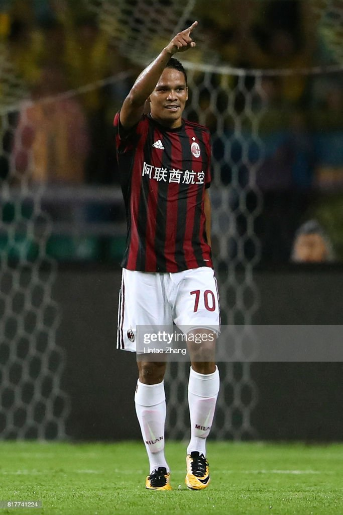 Carlos Bacca of AC Milan celebrates a goal during the 2017 International Champions Cup football match between AC milan and Borussia Dortmund at University Town Sports Centre Stadium on July 18, 2017 in Guangzhou, China.