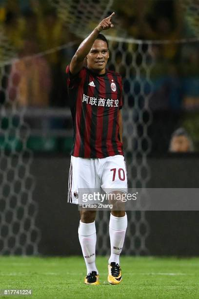 Carlos Bacca of AC Milan celebrates a goal during the 2017 International Champions Cup football match between AC milan and Borussia Dortmund at...