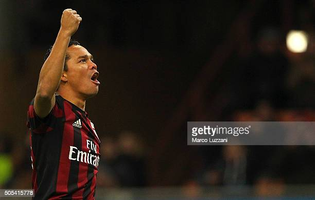 Carlos Bacca of AC Milan celebrates after scoring the opening goal during the Serie A match between AC Milan and ACF Fiorentina at Stadio Giuseppe...