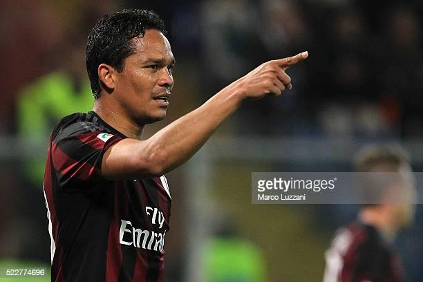 Carlos Bacca of AC Milan celebrates after scoring the opening goal during the Serie A match between UC Sampdoria and AC Milan at Stadio Luigi...