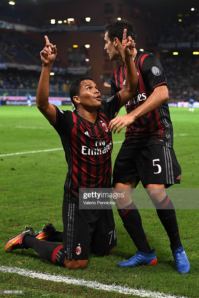 Carlos Bacca (L) of AC Milan celebrates after scoring the opening goal with team mate Giacomo Bonaventura during the Serie A match between UC Sampdoria and AC Milan at Stadio Luigi Ferraris on September 16, 2016 in Genoa, Italy.