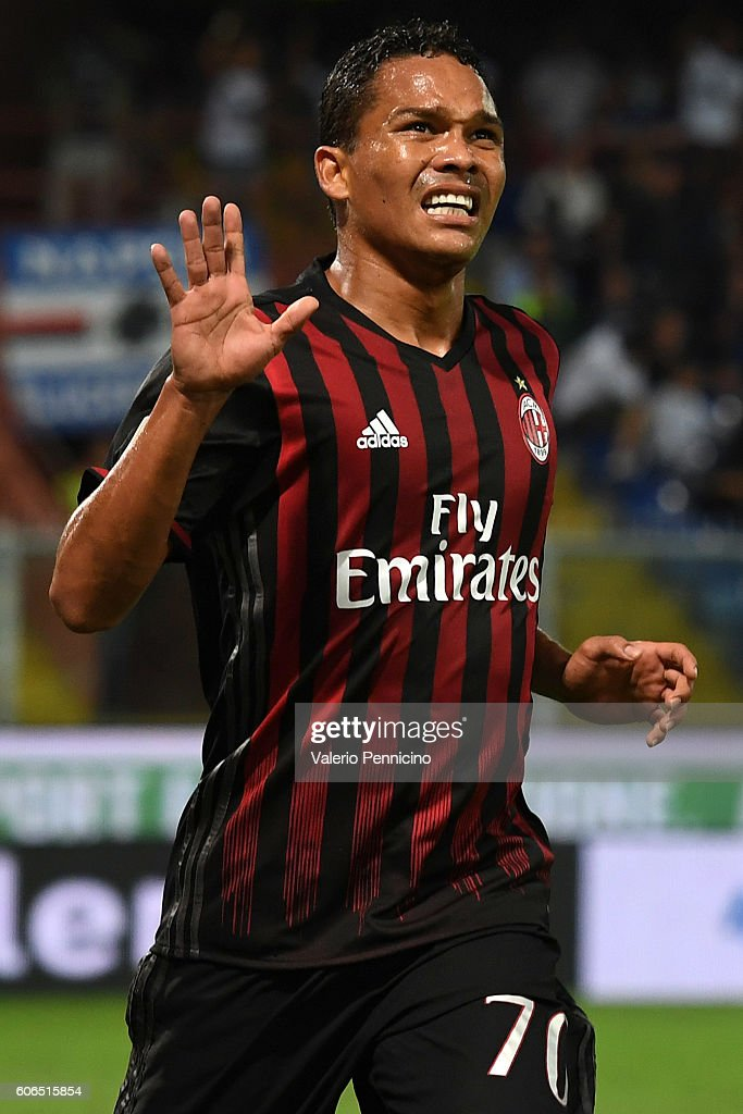 Carlos Bacca of AC Milan celebrates after scoring the opening goal during the Serie A match between UC Sampdoria and AC Milan at Stadio Luigi Ferraris on September 16, 2016 in Genoa, Italy.