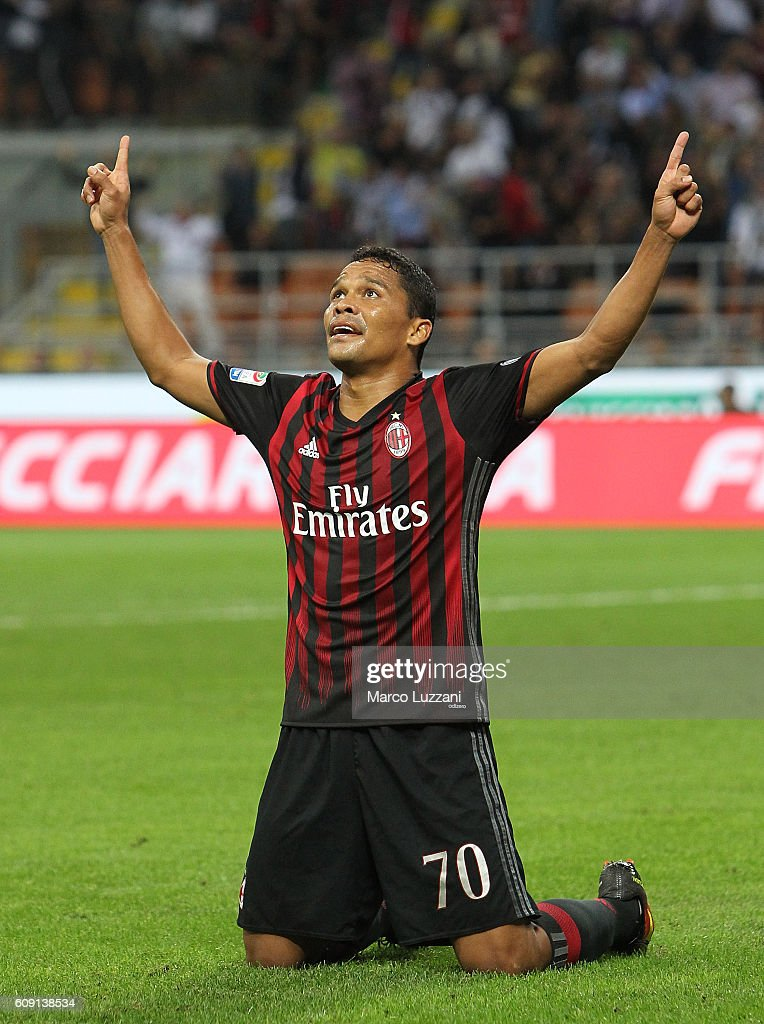 Carlos Bacca of AC Milan celebrates after scoring the opening goal during the Serie A match between AC Milan and SS Lazio at Stadio Giuseppe Meazza on September 20, 2016 in Milan, Italy.