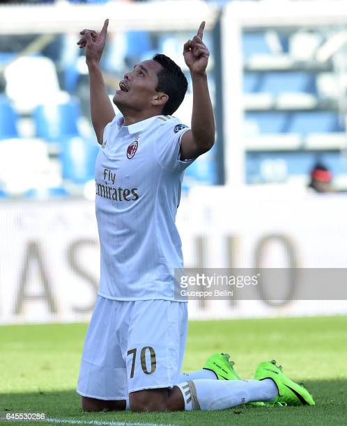Carlos Bacca of AC Milan celebrates after scoring the opening goal during the Serie A match between US Sassuolo and AC Milan at Mapei Stadium Citta'...