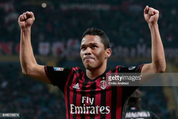 Carlos Bacca of AC Milan celebrates his second goal during the Serie A match between AC Milan and AC ChievoVerona at Stadio Giuseppe Meazza on March...