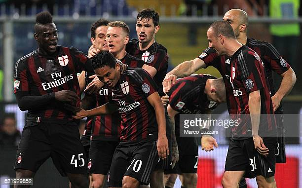 Carlos Bacca of AC Milan celebrates with his teammates after scoring the opening goal during the Serie A match between UC Sampdoria and AC Milan at...