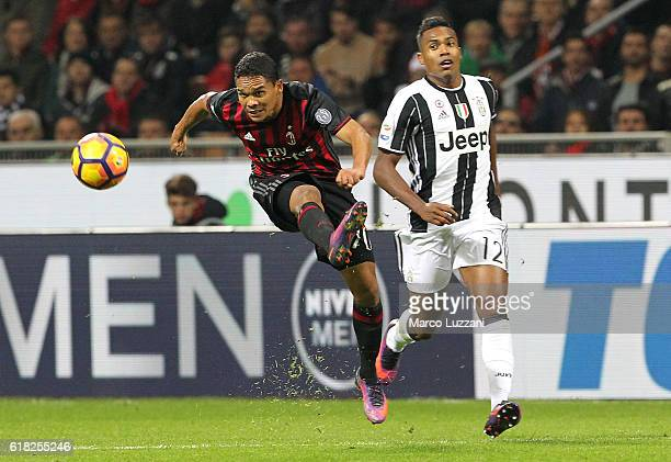 Carlos Bacca of AC Milan kicks a ball during the Serie A match between AC Milan and Juventus FC at Stadio Giuseppe Meazza on October 22 2016 in Milan...
