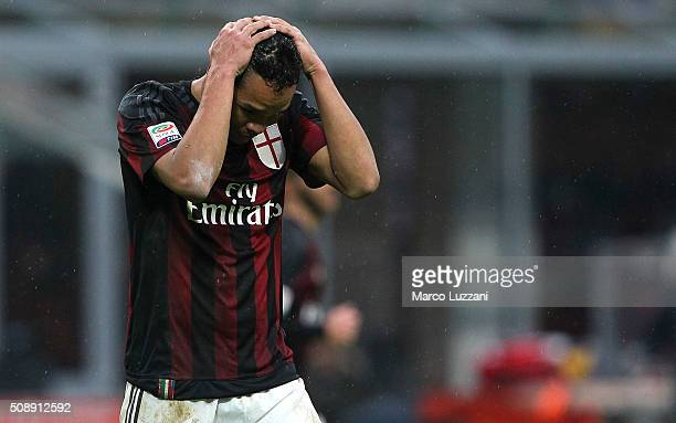 Carlos Bacca of AC Milan reacts to a missed chance during the Serie A match between AC Milan and Udinese Calcio at Stadio Giuseppe Meazza on February...