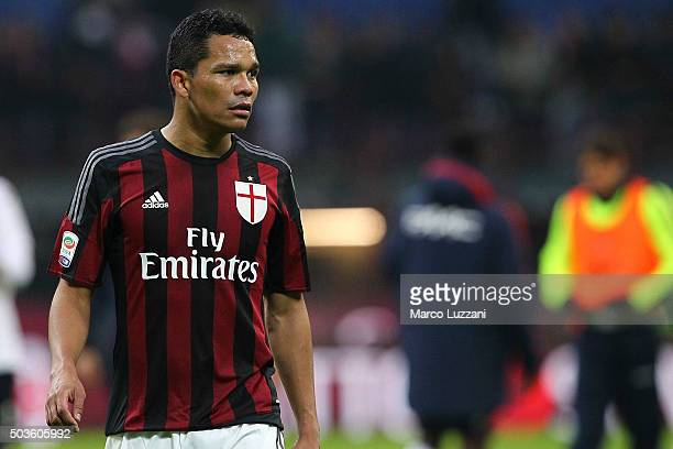 Carlos Bacca of AC Milan shows his dejection at the end of the Serie A match between AC Milan and Bologna FC at Stadio Giuseppe Meazza on January 6...