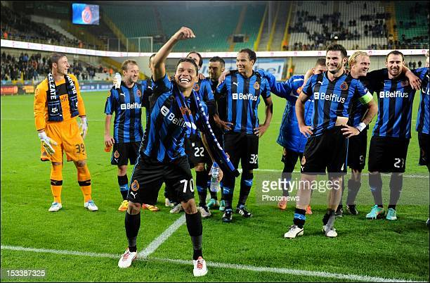 Carlos Bacca of Club Brugge KV celebrates the win with team-mates pictured during the UEFA Europa League match between Club Brugge and CS Maritimo on...