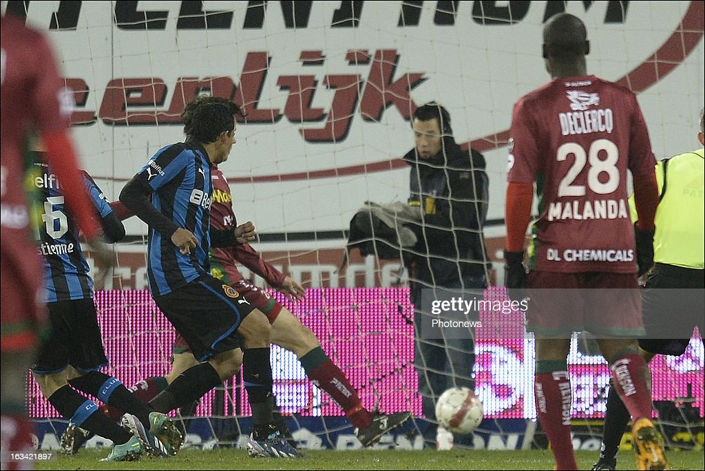 Carlos Bacca of Club Brugge KV scores during the Jupiler League match between SV Zulte Waregem and Club Brugge KV on March 9, 2013 in Waregem, Belgium.