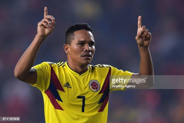 Carlos Bacca of Colombia celebrates after scoring a goal during International Friendly Football Match between China and Colombia at the Chongqing...