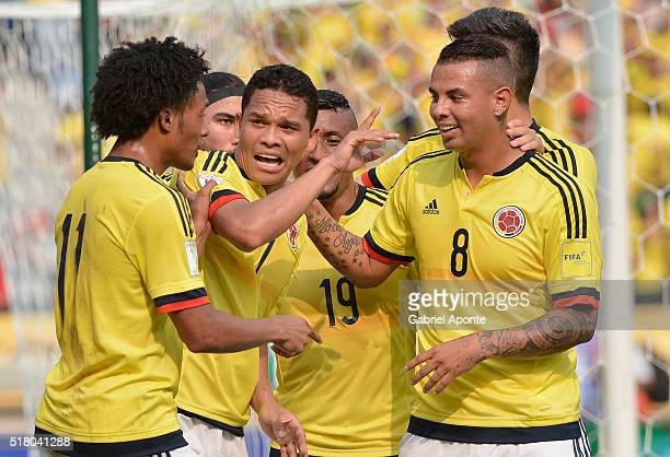 Carlos Bacca of Colombia celebrates with teammates after scoring the opening goal during a match between Colombia and Ecuador as part of FIFA 2018...