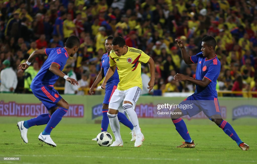 Carlos Bacca of Colombia (C) in action during training session open to the public as part of the preparation for FIFA World Cup Russia 2018 on May 25, 2018 in Bogota, Colombia.