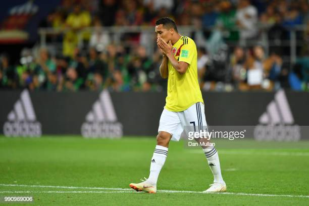 Carlos Bacca of Colombia looks dejected after his penalty is saved in the penalty shoot out during the 2018 FIFA World Cup Russia Round of 16 match...