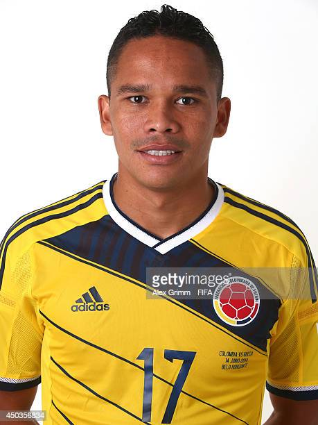 Carlos Bacca of Colombia poses during the official FIFA World Cup 2014 portrait session on June 9 2014 in Sao Paulo Brazil