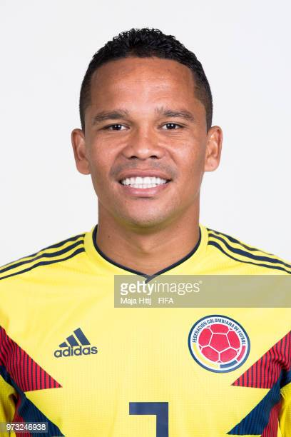 Carlos Bacca of Colombia poses for a portrait during the official FIFA World Cup 2018 portrait session at Kazan Ski Resort on June 13 2018 in Kazan...