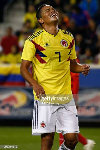 344300debb9 Carlos Bacca of Colombia reacts during action against Costa Rica during  their match at Red Bull