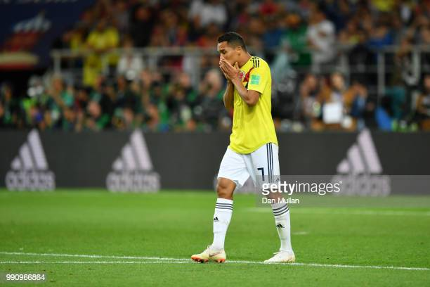 Carlos Bacca of Colombia shows his dejection following the 2018 FIFA World Cup Russia Round of 16 match between Colombia and England at Spartak...